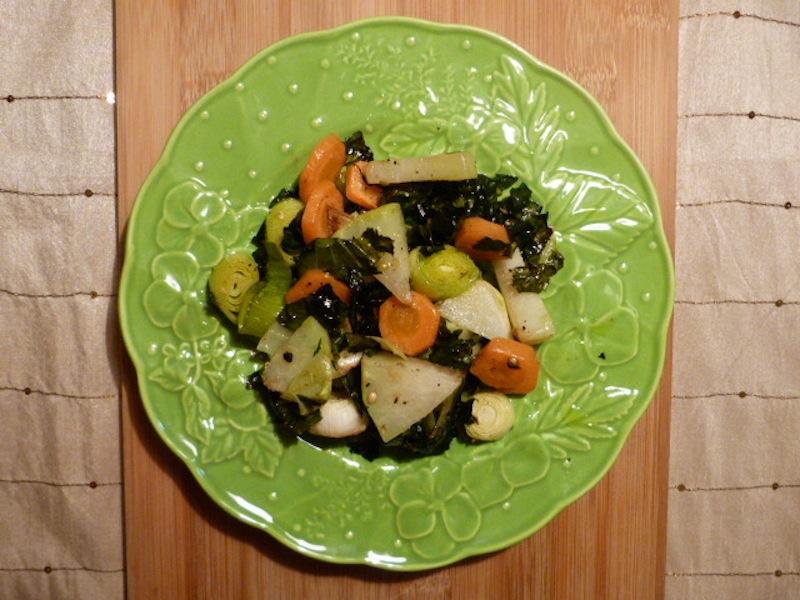 Couve-rábano com cenoura no forno