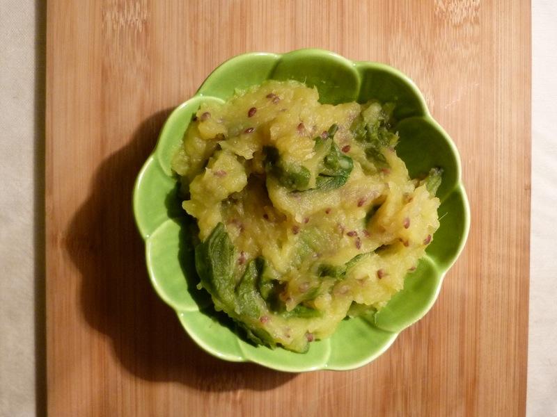 Puré de batata doce com espinafres